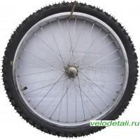 """Переднее колесо 20"""" со стальным хромированным ободом. С осью диаметром 8 мм. Крепится гайками."""