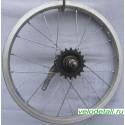 """Заднее колесо 16"""" с алюминиевым ободом с импортной односкоростной китайской задней втулкой."""