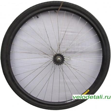 """Заднее колесо 28"""" с двойным алюминиевым ободом, с импортной односкоростной китайской задней втулкой."""