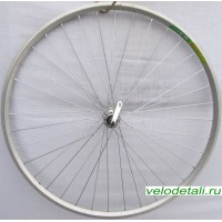 """Переднее колесо 28"""" с двойным алюминиевым ободом, с осью диаметром 10 мм, крепится эксцентриком."""