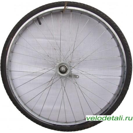 """Заднее колесо 24"""" со стальным хромированным ободом, под советскую заднюю втулку."""