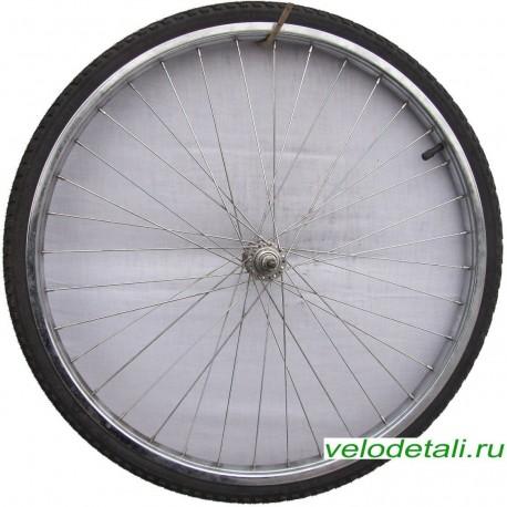"""Переднее колесо 24"""" со стальным хромированным ободом, с осью диаметром 8 мм, крепится гайками."""