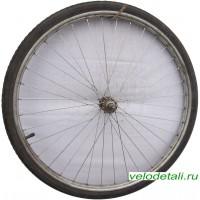"""Переднее колесо 24"""" со стальным анодированным ободом, с осью диаметром 8 мм."""