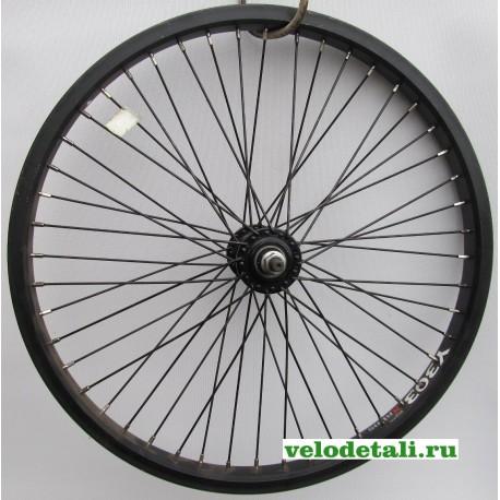 """Переднее колесо 20"""" ВМХ с алюминиевым ободом, с осью 9,5 мм, крепится гайками."""