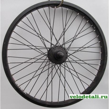 """Переднее колесо 20"""" ВМХ с алюминиевым ободом, с осью диаметром 14 мм, крепится гайками."""