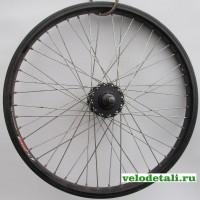 """Переднее колесо 20"""" ВМХ с двойным алюминиевым ободом, с осью диаметром 14 мм, крепится гайками."""