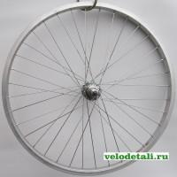 """Заднее колесо 24"""" с алюминиевым ободом, со спортивной хромированной задней втулкой с креплением на гайках."""