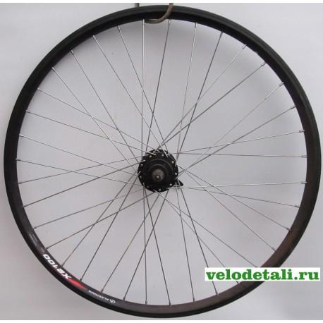 """Переднее колесо 26"""" с алюминиевым двойным ободом (А(ч) Х-2100), с передней втулкой под дисковый тормоз."""