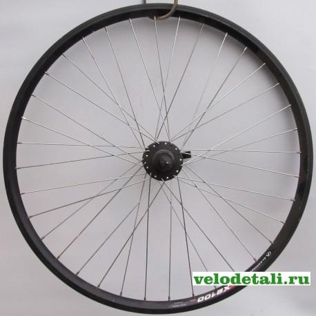 """Заднее колесо 26"""" с алюминиевым двойным ободом (А(ч) Х-2100) , с задней втулкой под трещётку,под дисковый тормоз."""