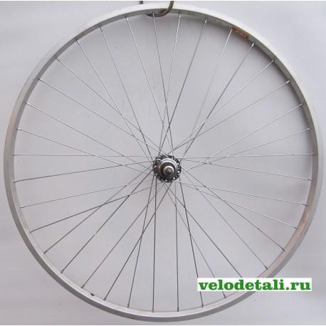 Заднее колесо 27 Т с алюминиевым ободом , со спортивной задней втулкой под трещётку на 3, 4, 5 звёздочек, с креплением на гайках